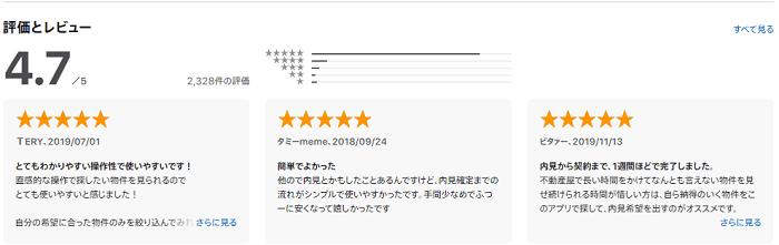 カナリーはApp Storeレビューで★4.7