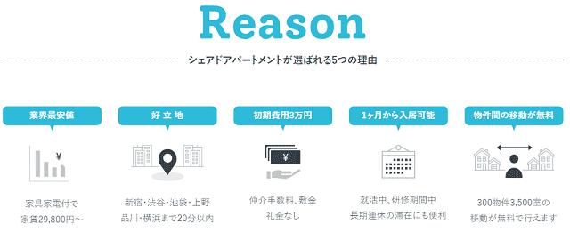 シェアドアパートメントが選ばれる5つの理由