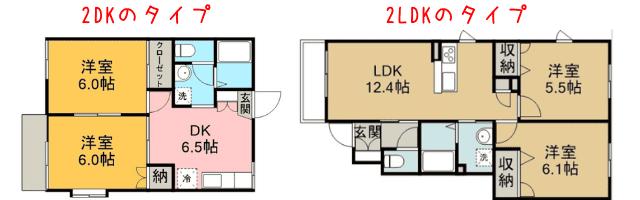 2DKのタイプ と2LDKのタイ