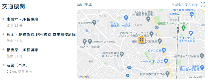ビレッジハウス下九沢地図写真