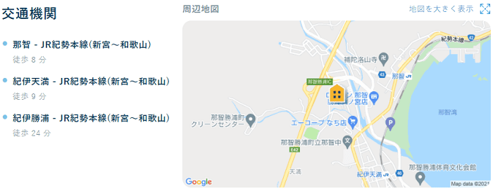 ビレッジハウス勝浦交通機関