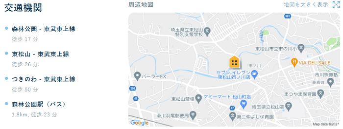 ビレッジハウス東松山タワー地図写真