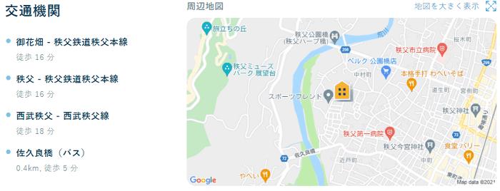 ビレッジハウス秩父地図写真