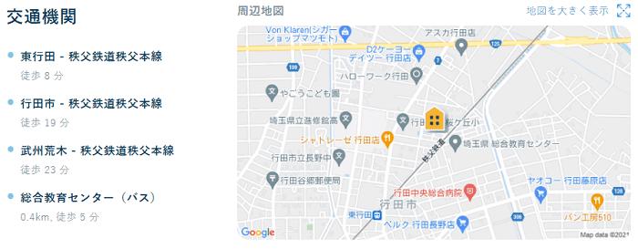 ビレッジハウス行田地図写真