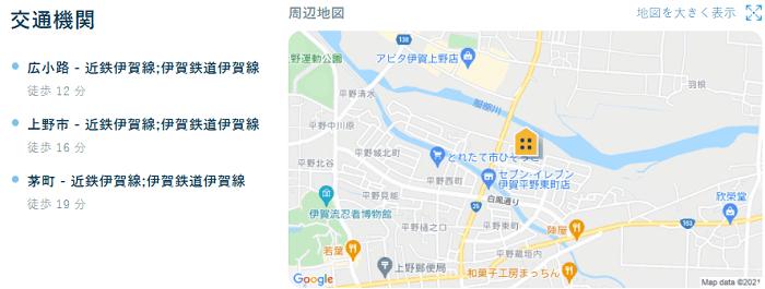 ビレッジハウス上野服部第二交通機関