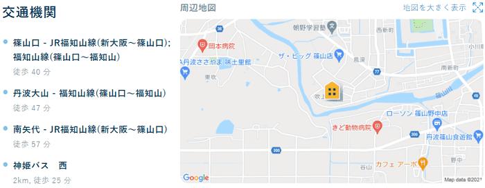 ビレッジハウス篠山交通機関