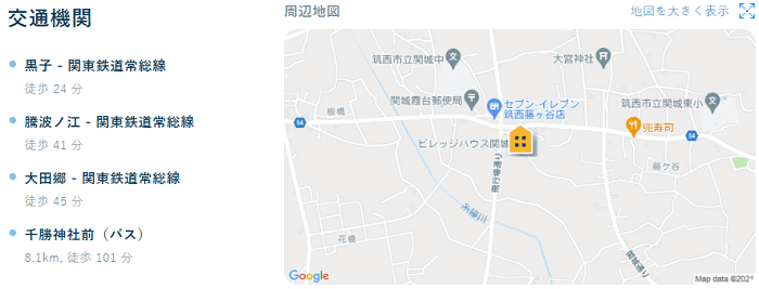 ビレッジハウス関城交通機関